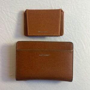 Two Piece Brown Vegan Leather Matt & Nat Wallet Set